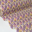 Tissu coton imprimé Fleurs symétriques Prune et Cannelle Oeko tex