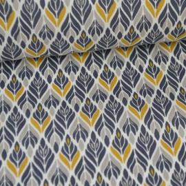 Tissu coton imprimé Fleurs symétriques Gris et Moutarde Oeko tex