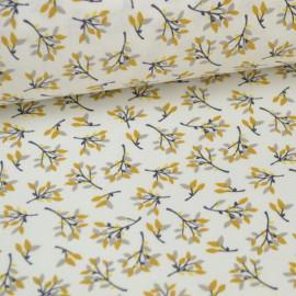 Tissu coton imprimé Fleurs Safran et Gris Oeko tex