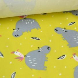 Tissu Jersey imprimé Hippopotames fond Jaune