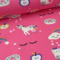 Tissu Jersey imprimé Magic Licorne Rose Fuchsia