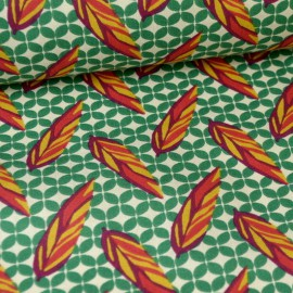 Tissu ethnique plumes fonf vert