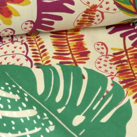 Tissu ethnique coton imprimé feuilles de palme vert, rose et orange