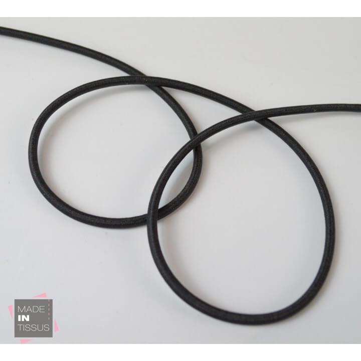 Cordon élastique rond Rayonne 3mm Noir