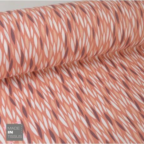 Tissu 100%coton imprimé graphique Badi Lie de Vin  x1m