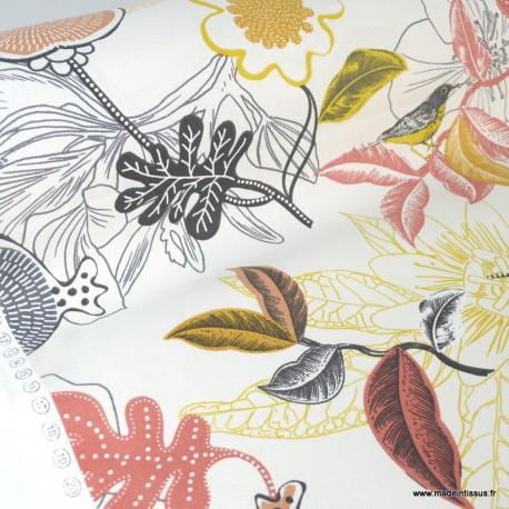 Toile de coton Canva imprimé Fleurs et oiseaux Corail et jaune