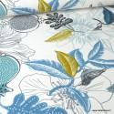 Tissu Toile de coton Canva imprimé Fleurs et oiseaux moutarde et bleu glacier
