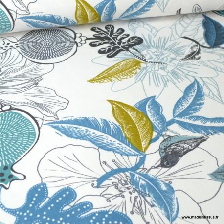 Toile de coton Canva imprimé Fleurs et oiseaux moutarde et bleu glacier