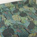 Tissu Toile de coton Canva imprimé Forêt exotique et animaux fond Petrole