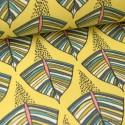 Toile de coton Canva imprimé Feuilles bleues fond jaune