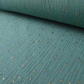 Tissu Double gaze coton Glitter à pois OR coloris CELADON.x1m