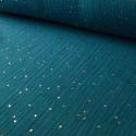 Tissu Double gaze coton Glitter à pois OR coloris Paon