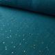Tissu Double gaze coton Glitter à pois OR coloris PETROLE.x1m