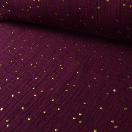 Tissu Double gaze coton Glitter à pois OR coloris PRUNE.x1m