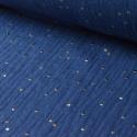 Tissu Double gaze coton Glitter à pois OR coloris INDIGO