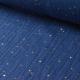 Tissu Double gaze coton Glitter à pois OR coloris INDIGO.x1m