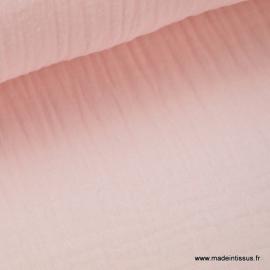 Tissu Double gaze coton Rose .x1m