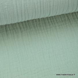 Tissu Double gaze coton vert menthe