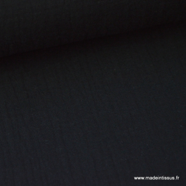 Tissu Double gaze coton noir .x1m