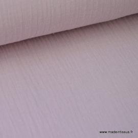Tissu Double gaze coton rose poudré .x1m