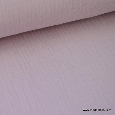 Double gaze coton rose poudré x50cm