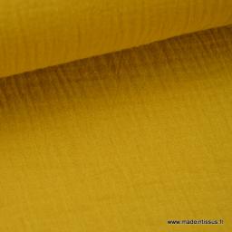 Double gaze coton Moutarde x50cm