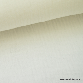 Tissu Double gaze coton Ivoire