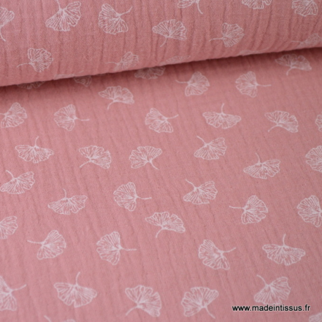 Tissu Double gaze Oeko tex imprimée feuilles de Gingko fond Rose x1m