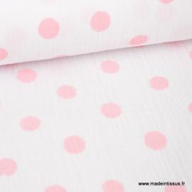 Tissu Double gaze Oeko tex imprimée pois roses sur fond blanc