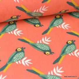 Tissu Coton Oeko tex imprimé Perroquets sur fond corail