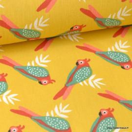 Tissu Coton Oeko tex imprimé Perroquets sur fond Jaune