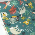 Tissu Coton Oeko tex imprimé Perroquets et Paresseux fond Vert Canard