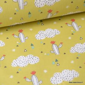Tissu coton imprimé cactus