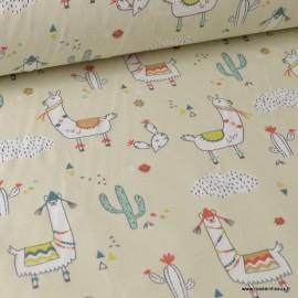 Tissu coton imprimé Lamas et cactus