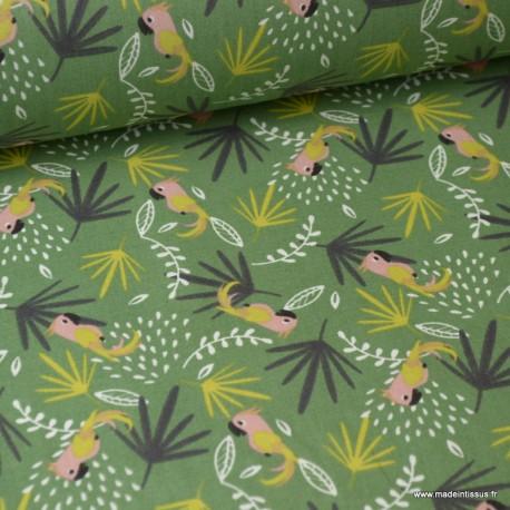 Tissu coton imprimé feuilles et perroquets jaunes et kaki