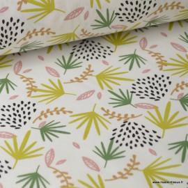 Tissu coton imprimé feuilles jaunes et vertes