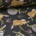 Tissu coton imprimé PARESSEUX taupe et gris