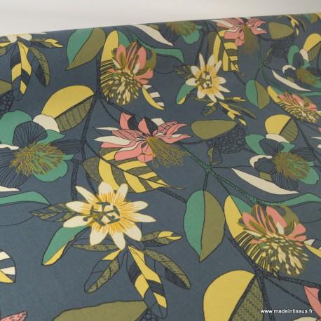 Toile de coton Canva imprimé Fleurs jaune et rose fond bleu