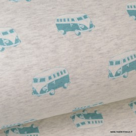 Tissu sweat envers minky Oeko tex imprimé Vans Menthe sur fond gris clair chiné