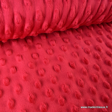 Tissu minky POIS ROUGE x50cm
