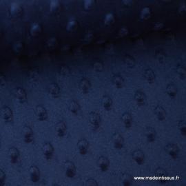 Tissu minky POIS MARINE .x1m