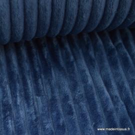 Tissu minky Rayures Bleu Marine