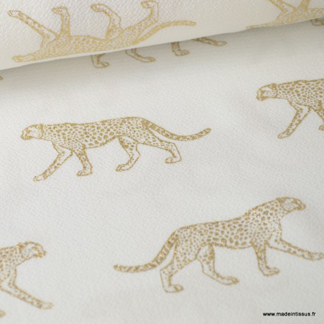 Tissu crêpe stretch imprimé Léopard Or fond Blanc
