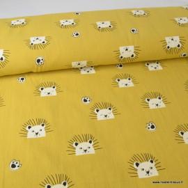 Tissu coton lavé imprimé têtes de lion fond Moutarde