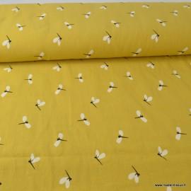Tissu crêpe de coton imprimé Libellules fond Moutarde