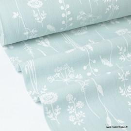 Tissu crêpe de coton imprimé fleurs de prairies fond Menthe