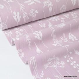 Tissu crêpe de coton imprimé fleurs de prairies fond Rose