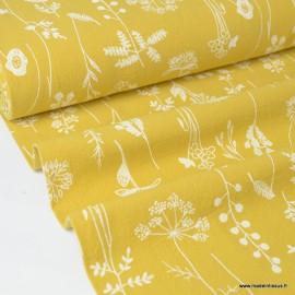 Tissu crêpe de coton imprimé fleurs de prairies fond Moutarde