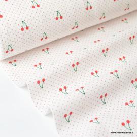 Tissu coton imprimé cerises et points rouges fond blanc