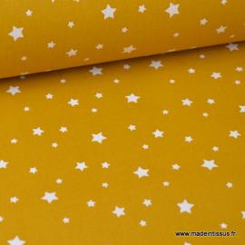 Tissu coton étoiles multiples moutarde - oeko tex